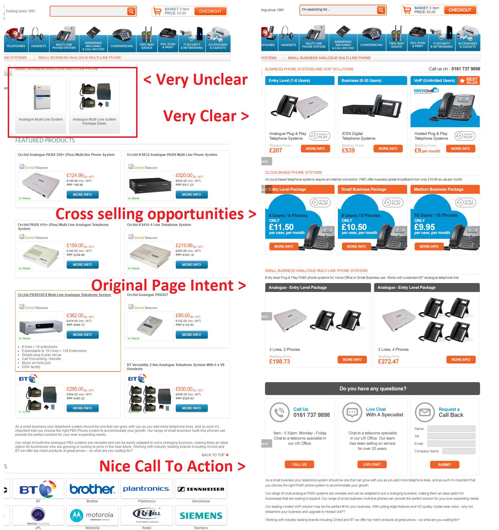 oldvsnew 2 - Landing Page Optimisation 2016: A Case Study [PMC Telecom]
